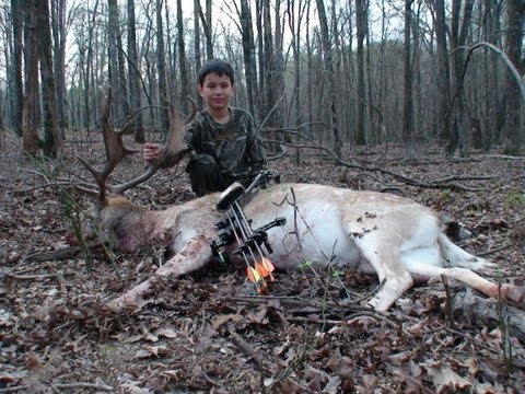 8 year old arrows fallow deer in texas a-1 archery perfect shot placement by youth hunter